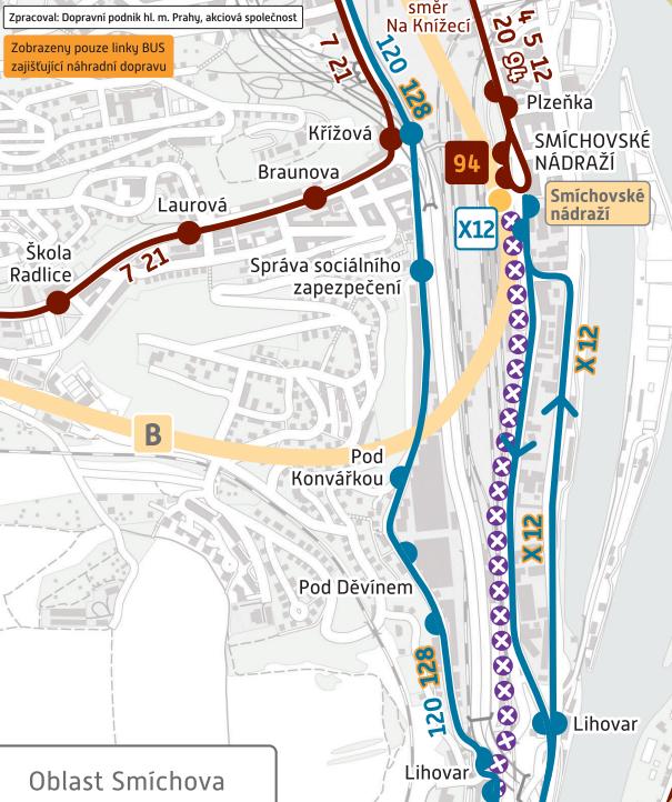Schéma provozu během opatření – oblast Smíchovské nádraží